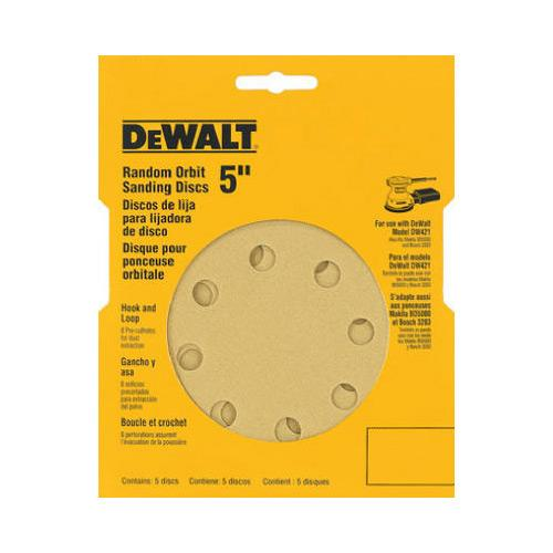 DeWALT DW4307 5'' 8 Hole Assortment H&L Random Orbit Sandpaper (5 Pk)