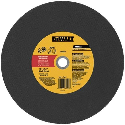 "DeWALT DW8020 14""x 1/8"" x1"" Metal Hi-Speed Cut-Off Abrasive Wheel - 10pk"