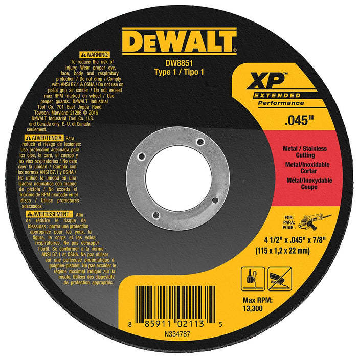 DeWALT DW8851 4-1/2 X .045 X 7/8 XP Metal Cutting Wheels Type 1