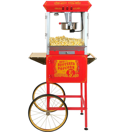 FunTime FT860CR 8oz Premium Red/Gold Popcorn Popper Machine Maker Cart Vintage