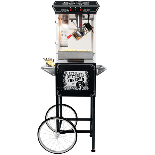 FunTime 8oz Black Popcorn Popper Machine Maker Cart Vintage Style- FT862CB