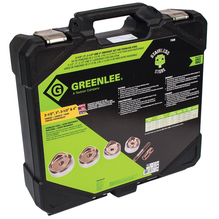 Greenlee 7308 Knockout Punches/Dies Kit for 2-1/2, 3, 3-1/2 and 4-Inch Conduit