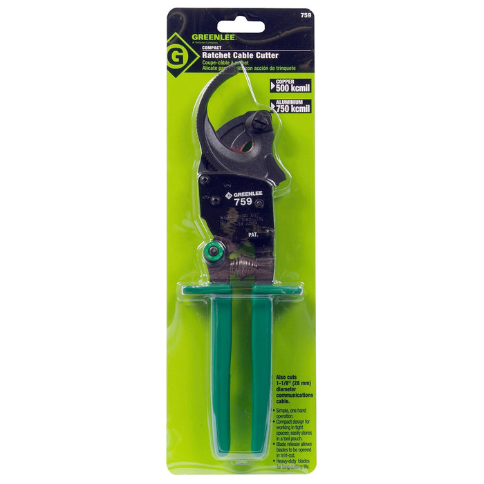 Greenlee 759 10-1/2-Inch Durable Compact Single Speed Cable Ratchet Cutter