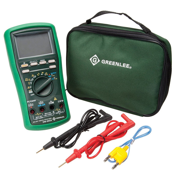Greenlee DM-860A Durable DMM 500,000-Count AC/DC Auto/Manual Digital Multimeter