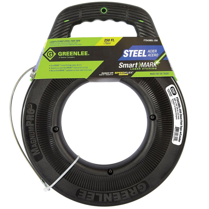 Greenlee FTS438DL-250 250-Foot x 1/8-Inch Laser Etched Fish Tape w/ Leader