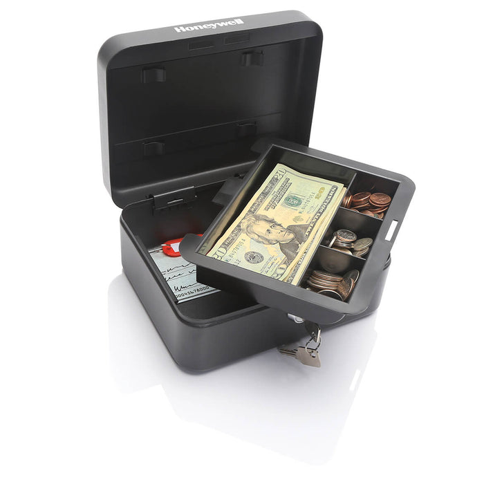 Honeywell 6111 10-Key Durable Steel Convertible Cash and Key Lock Box