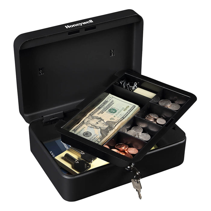 Honeywell 6112 Steel Removable Tray Standard Cash Box w/ Key Lock