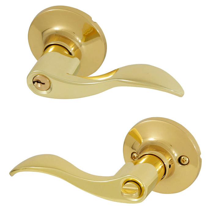 Honeywell 8106001 Wave Entry Keyed Anti-Bump Lever Door Lock - Polished Brass