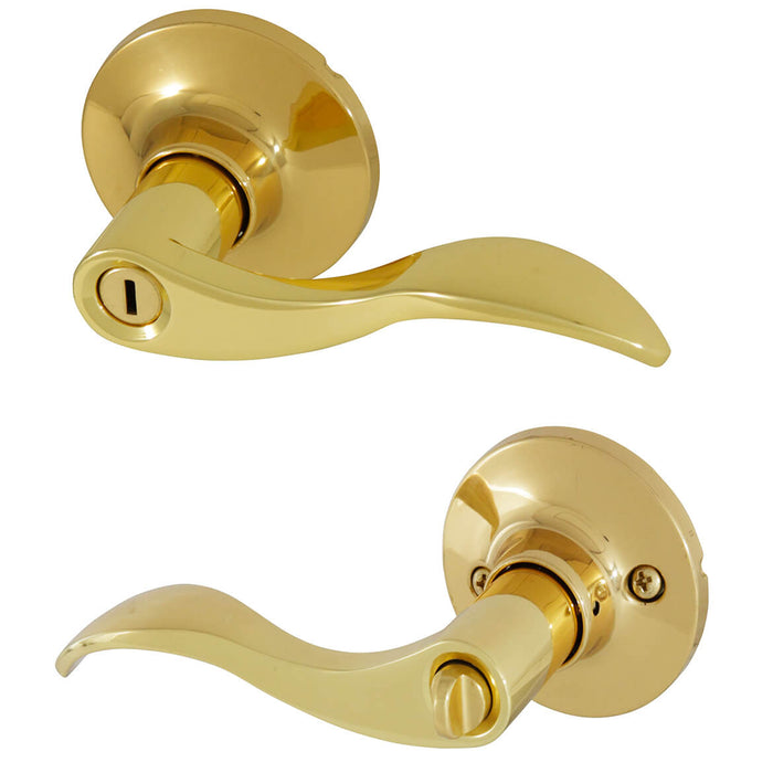 Honeywell 8106002 Wave Lever Privacy Handle Door Lock - Polished Brass