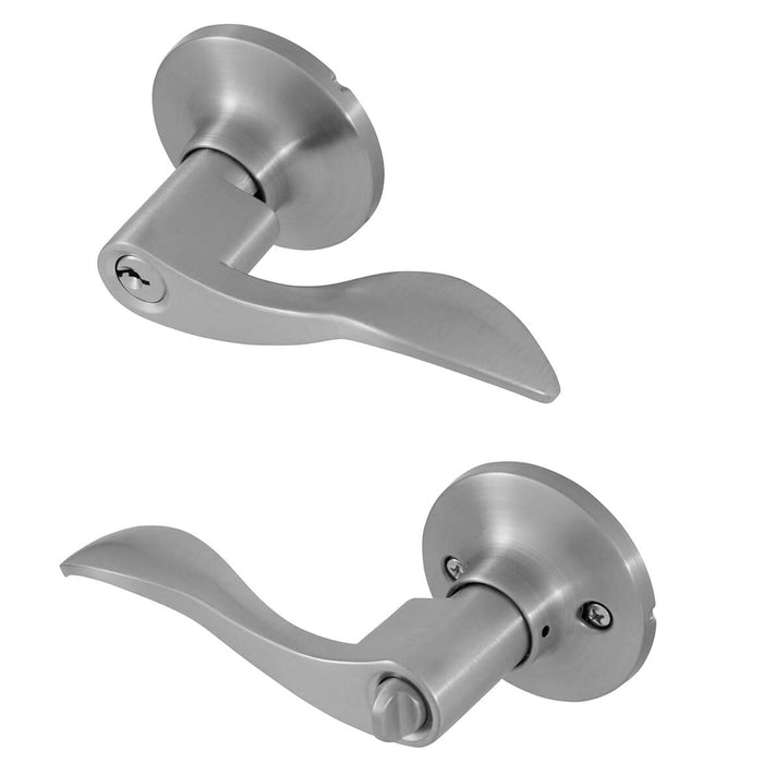 Honeywell 8106301 Wave Entry Keyed Anti-Bump Lever Door Lock - Satin Nickel