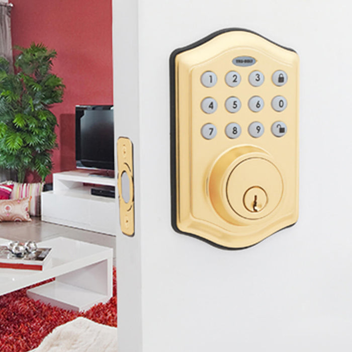 Honeywell 8712009 Electronic Entry Keypad Deadbolt Door Lock - Polished Brass