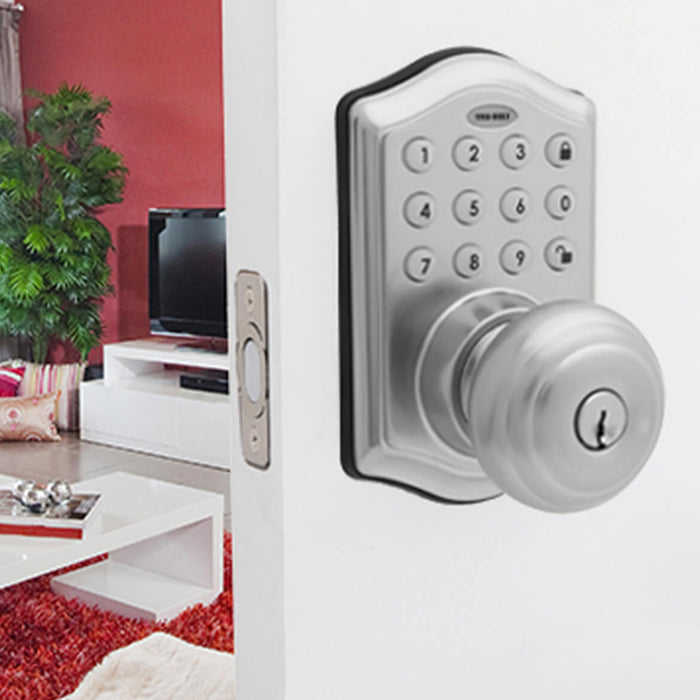 Honeywell 8732301 Electronic Entry Keypad Knob Door Lock - Satin Nickel