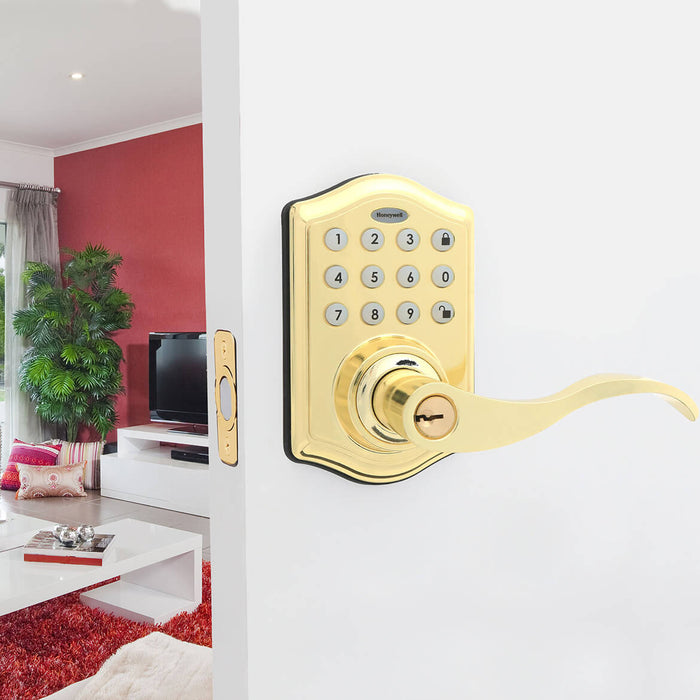 Honeywell 8734001 Electronic Entry Keypad Lever Door Lock - Polished Brass