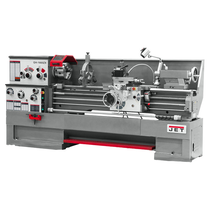 "JET GH-1660ZX 7-1/2-Hp 230/460V 3-1/8"" Durable Spindle Bore Geared Head Lathe"