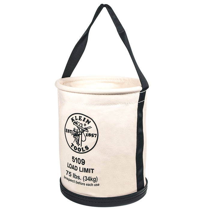 Klein 5109 75 lb. Rated Heavy Duty Canvas Wide-Opening Straight-Wall Bucket Bag