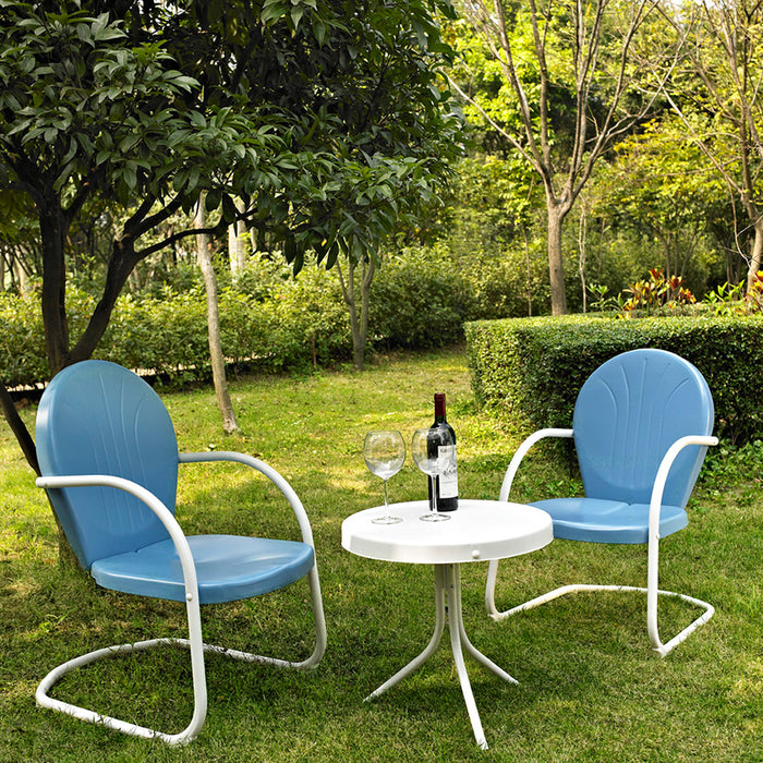 Crosley KO10004BL 3-Piece Griffith Metal Outdoor Side Table Seating Set-Blue Sky