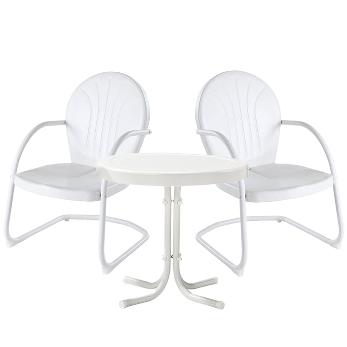 Crosley KO10004WH 3-Piece Griffith Metal Outdoor Side Table Seating Set - White