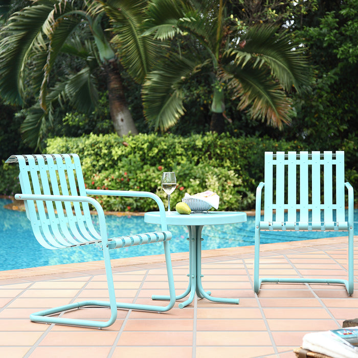 Crosley KO10007BL 3-Piece Gracie Metal Outdoor Seating Set - Caribbean Blue