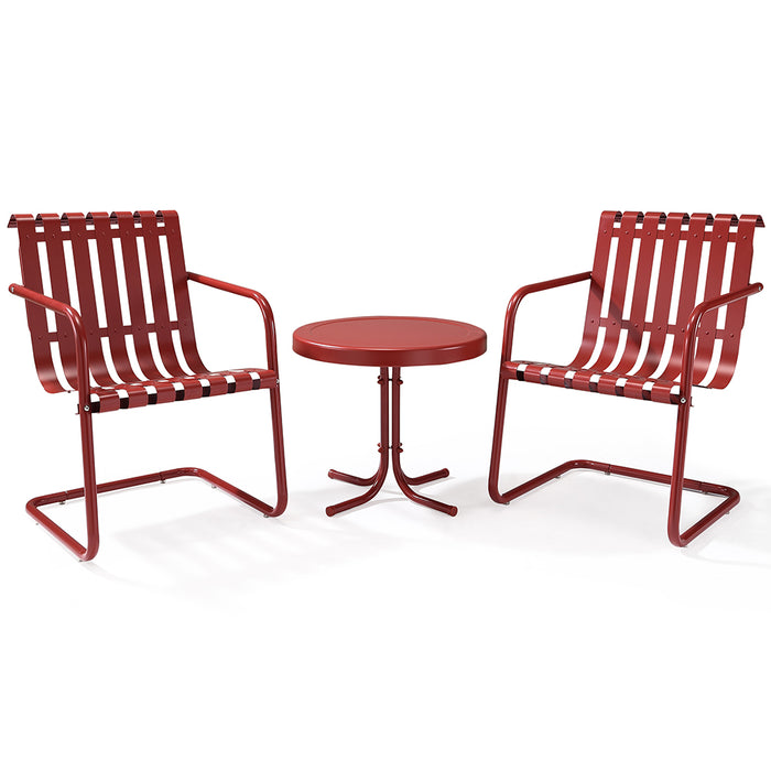 Crosley KO10007RE 3-Piece Gracie Metal Outdoor Seating Set - Coral Red