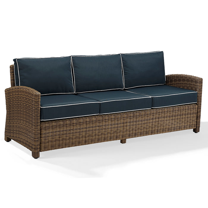 Crosley KO70049WB-NV Bradenton Durable Steel Frame Sofa with Navy Cushions