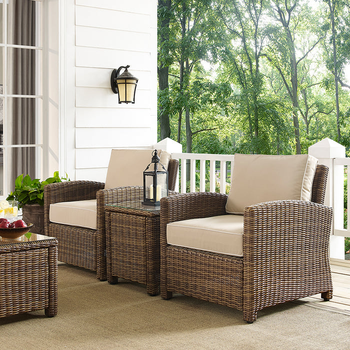 Crosley KO70052WB-SA 3-Piece Bradenton Outdoor Wicker Conversation Set - Sand