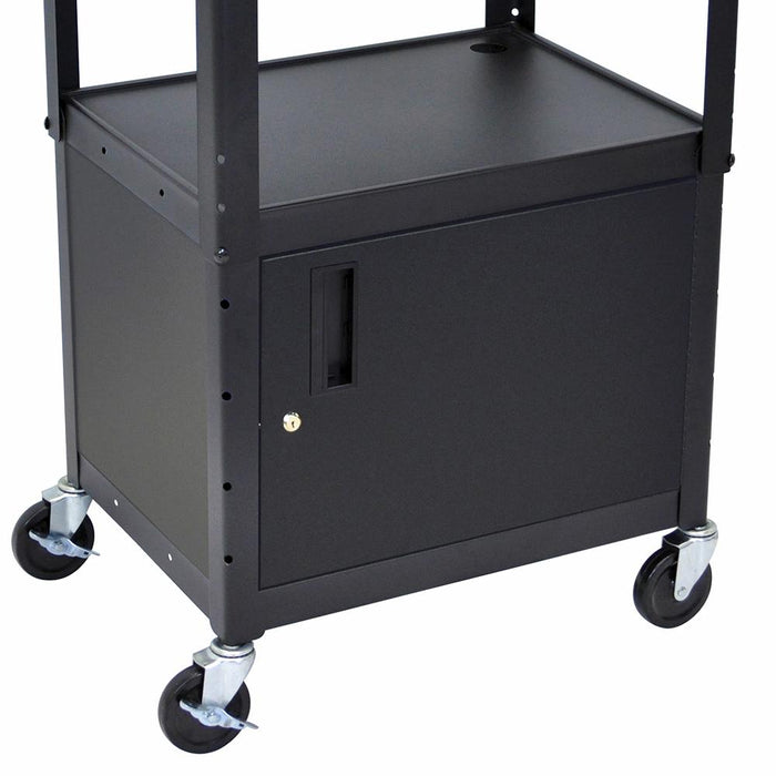 Luxor AVJ42C 24 x 18-Inch Black Adjustable Height Metal A/V Cart with Cabinet