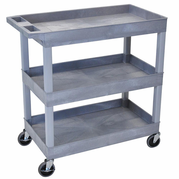 Luxor EC111-G 32 x 18-Inch Gray High Capacity Three Tub Shelves Cart