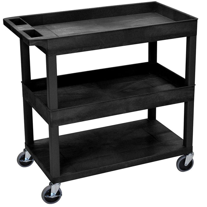 Luxor EC112-B 32 x 18-Inch Black Plastic 2 Tub and 1 Flat Shelf Utility Cart