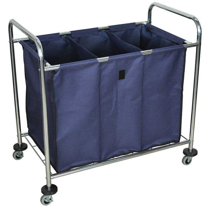 Luxor HL15 51-Gallon 3-Compartment Industrial Steel Frame Canvas Bag Cart - Blue