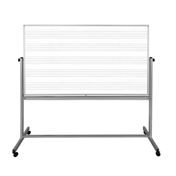 Luxor MB7248MW 72 x 48 -Inch Reversible Magnetic Music Mobile Whiteboard