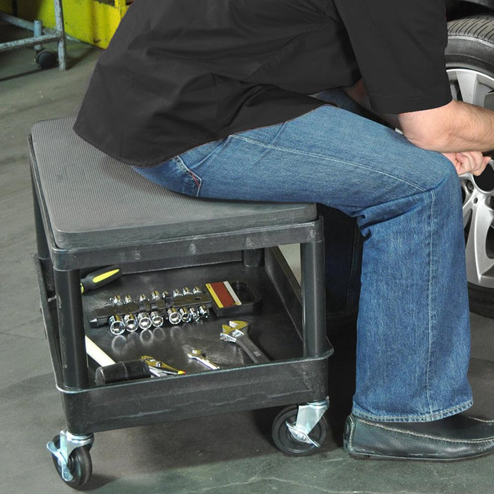 Luxor MS21-B 24 x 18-Inch Black Longer Lasting Mobile Wheel Mechanics Seat