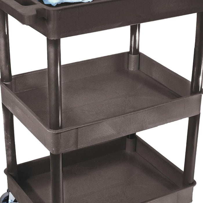 Luxor STC111H-B 24 x 18-Inch Black Three Tub Shelves Cart with Bottle Holder