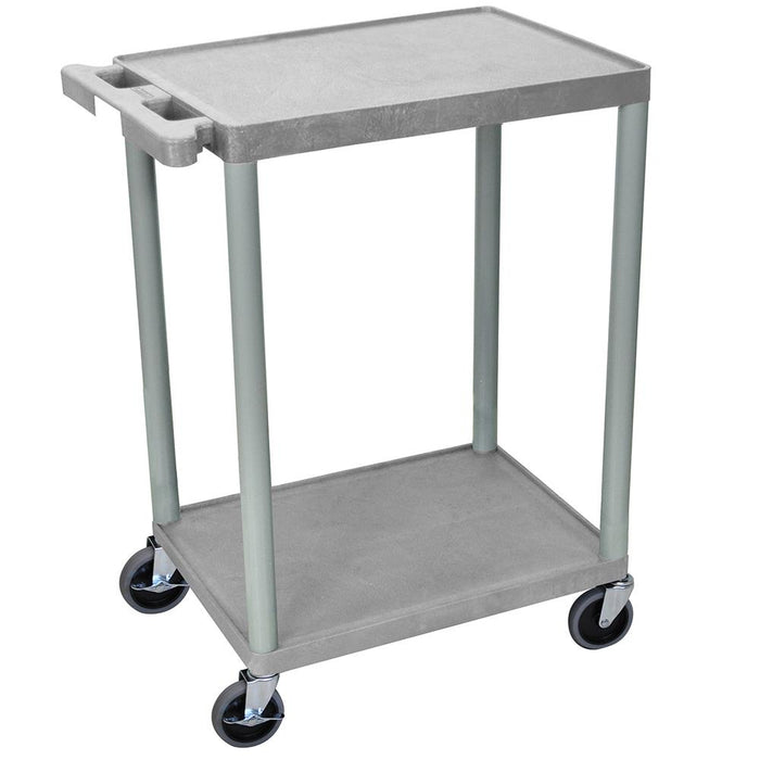 Luxor STC22-G 24 x 18-Inch Gray Plastic Multi-Purpose 2 Shelf Roll Utility Cart