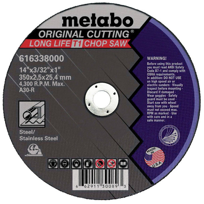 Metabo 14 x  3/32 x 1-Inch A30R Type 1 Grinder Slicer Cutting Wheel - 10pk