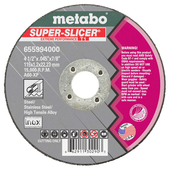 Metabo 6 x .045 x 7/8-Inch A60XP Type 1 Super Slicer Cutting Wheel - 50pk