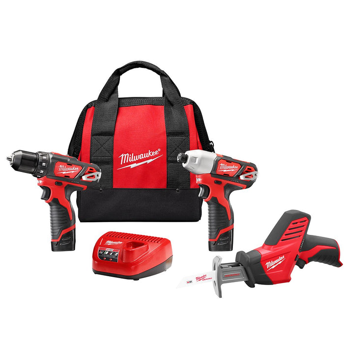 Milwaukee 2498-23 M12 12V 3-Tool Drill/Impact/Reciprocating Saw Combo Kit