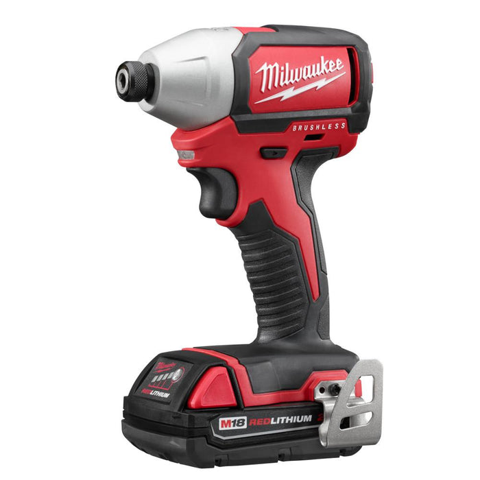 "Milwaukee 2750-22CT M18 18V 1/4"" Hex Brushless Impact Driver w/ Batteries"
