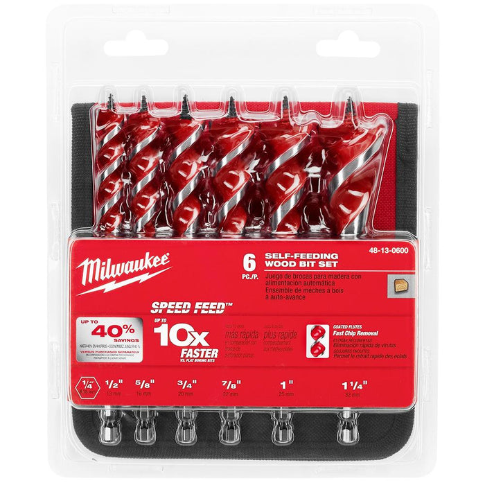 Milwaukee 48-13-0600 6-1/2-Inch Durable Versatile Speed Feed Wood Bit Set - 6pc