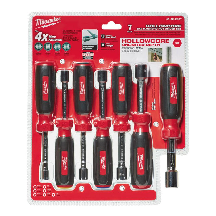 Milwaukee 48-22-2507 Multi-Size Magnetic HollowCore SAE Nut Driver Set - 7pc