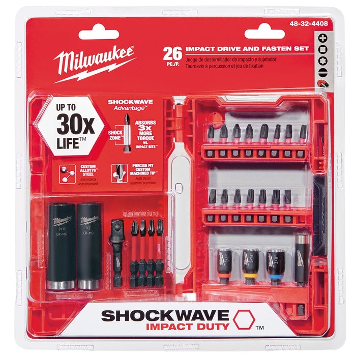 Milwaukee 48-32-4408 Optimized Shockzone Steel Impact Drive & Fasten Set - 26pc