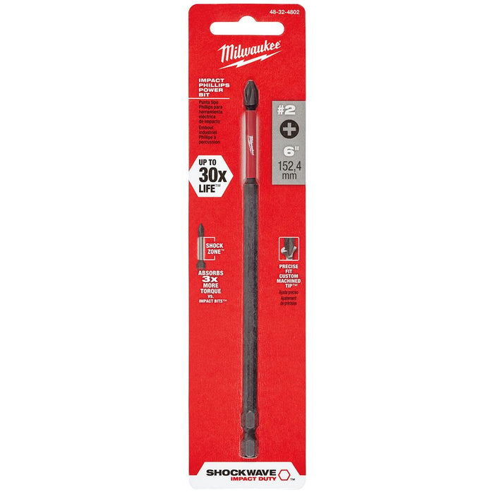 Milwaukee 48-32-4802 #2 x 6-Inch Shockwave Impact Phillips Power Bit