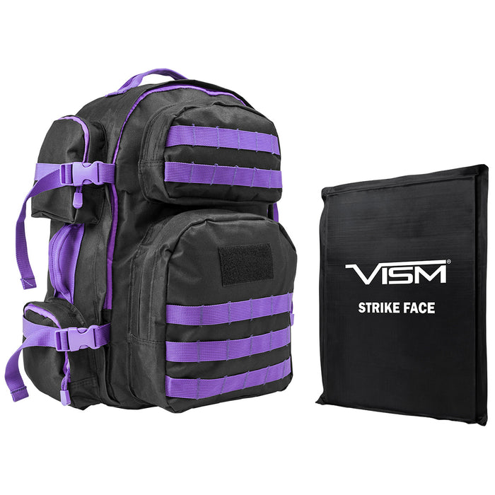 NcStar BSCBPR2911-A Ballistic Panel and Tactical Backpack Combo, Black w/ Purple