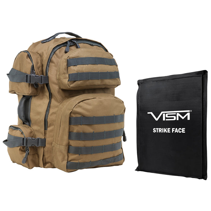 NcStar BSCBTU2911-A Ballistic Panel and Tactical Backpack Combo, Tan w/ Gray