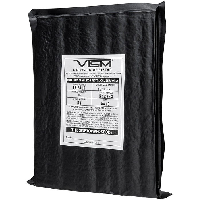 NcStar BSF810 8-Inch x 10-Inch VISM Soft Ballistic Panel, Rectangle Cut