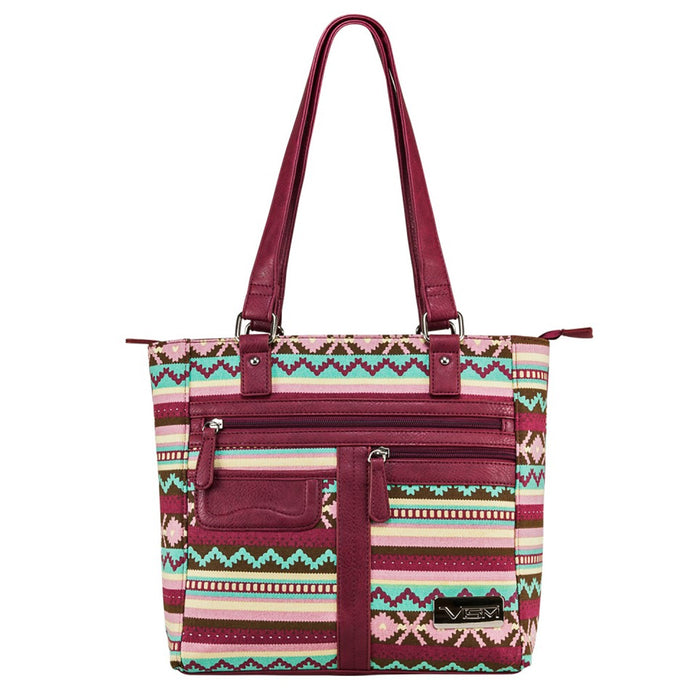 NcStar BWJ003 10-1/4-Inch VISM Leather Concealed Carry Printed Tote, Burgundy