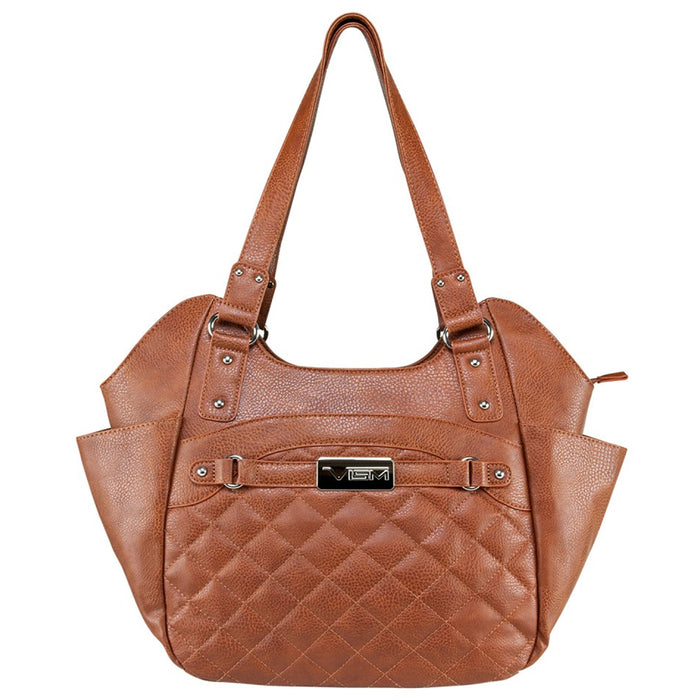 NcStar BWL002 12-Inch Leather Concealed Carry Quilted Hobo Bag - Brown, Large