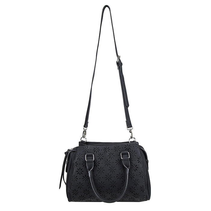 NcStar BWQ001 VISM Faux Leather Daisy Crossbody Handbag Satchel - Black