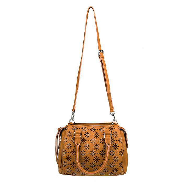 NcStar BWQ002 VISM Faux Leather Daisy Crossbody Handbag Satchel - Brown