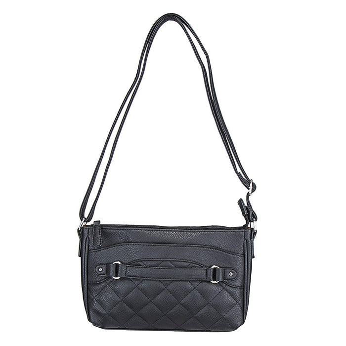 NcStar BWS001 VISM Faux Leather Quilted Crossbody Carrying Bag - Black