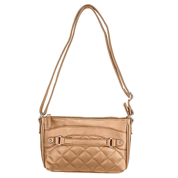 NcStar BWS002 VISM Faux Leather Quilted Crossbody Carrying Bag - Brown